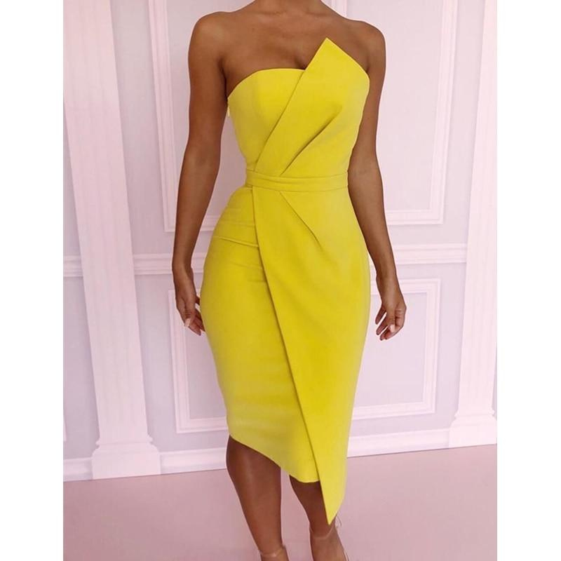 Off Shoulder Asymmetric Fold Front Bodycon Dress Yellow