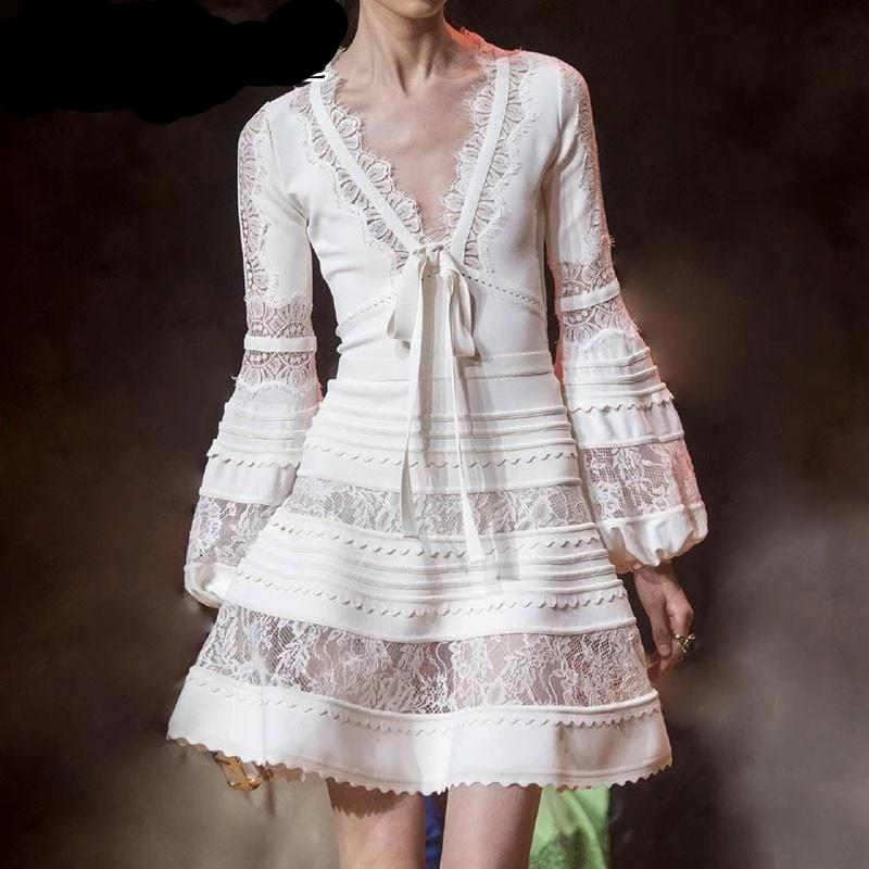 Elegant V Neck Lantern Long Sleeve Lace Up Dress White