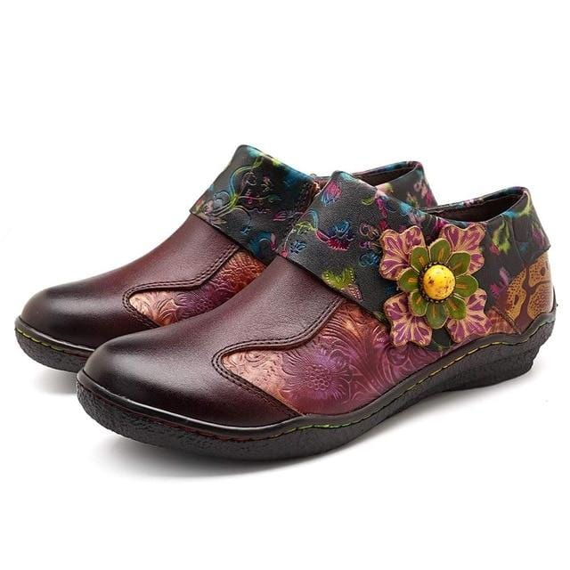 Vintage Flower Casual Loafers Soft Shoes