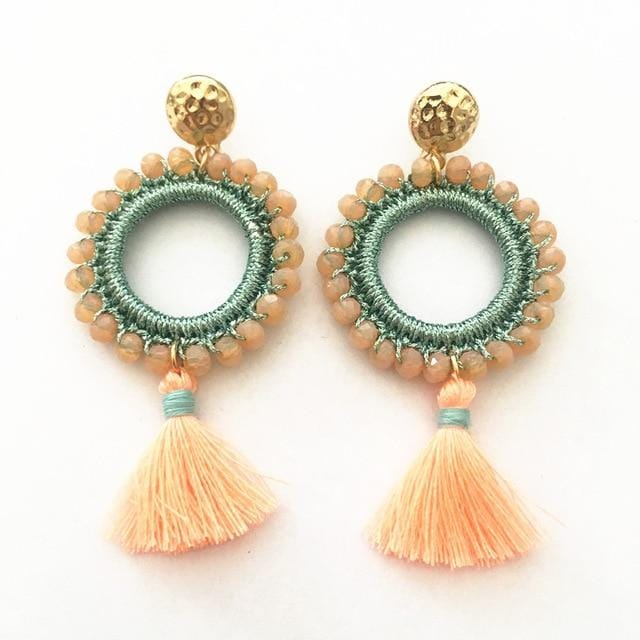 Pink and Blue Crystal Delicate Tassel Earrings