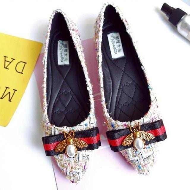 Rhinestone Flat Loafers Canvas Casual Shoes Pink