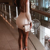 Cocktail Slim Long Sleeve Sheath White Mini Dress
