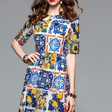 Multicolor Flower Embroidery Lace Dress Multi