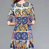 Multicolor Flower Embroidery Lace Dress