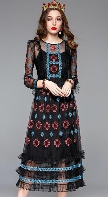 Long Sleeves Ruffles Black Mesh Embroidery Dress