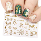 Christmas Nail Art Gold Silver Decals