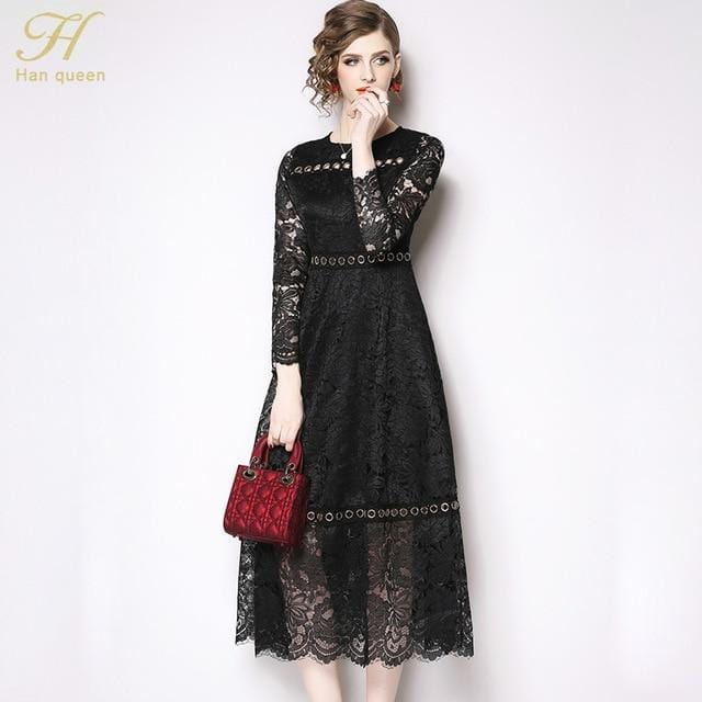 Floral Crochet Hollow Casual Elegant Dress Black