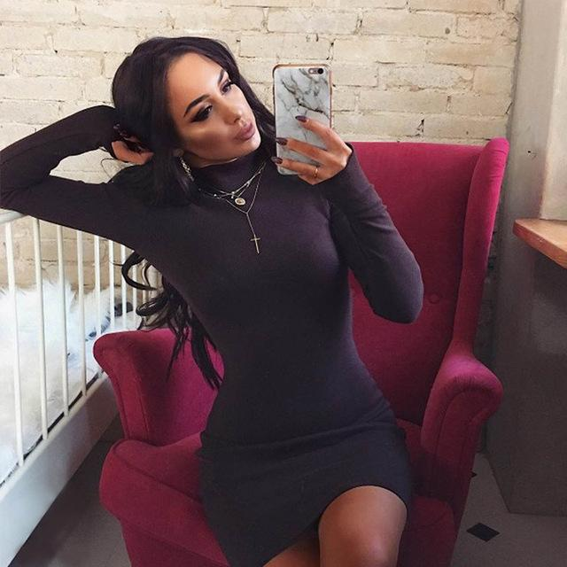 Elegant Long Sleeve Mini Bodycon Dress Black