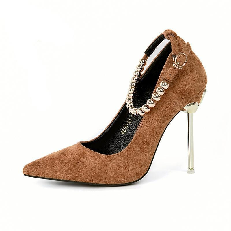 Metal Ball Chain Embellished Stylish Pumps Brown