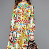 Long Sleeve Gorgeous Pattern Printed Dress Multi