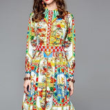 Long Sleeve Gorgeous Pattern Printed Dress