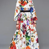 Multicolor Floral Print Holiday Party Dress
