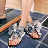 Fashion Butterfly-Knot Crystal Decor Flat Sandals Grey