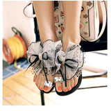 Fashion Butterfly-Knot Crystal Decor Flat Sandals