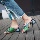 Fashion Prints Leather High Heels Sandals Pumps Rose Red