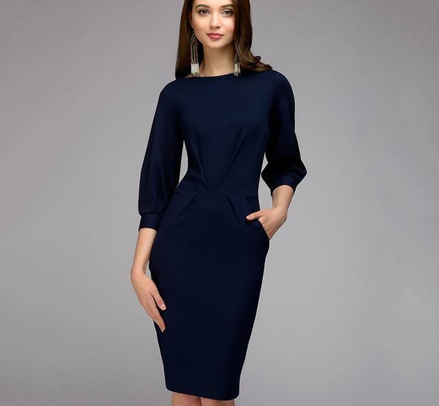 Lantern Sleeve Office Wear Pencil Dress