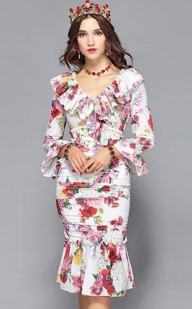 Rose Floral Print Mermaid Style Bodycon Dress