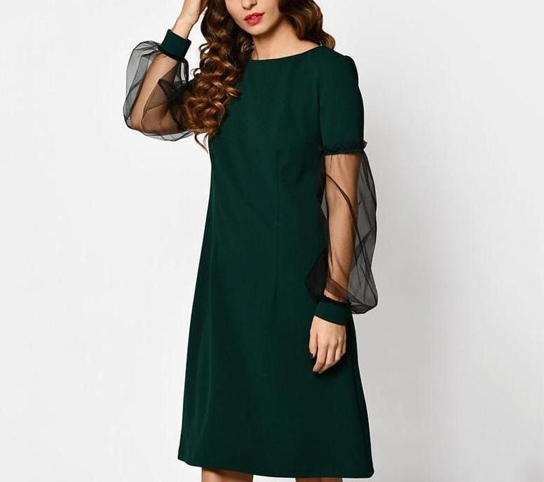Unique Net Sleeve Cute Short Dress