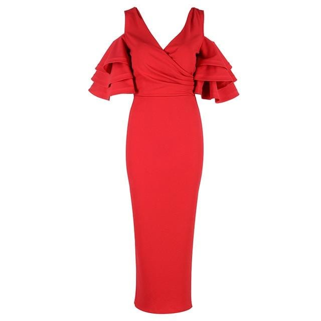 Unique Chic Style High Fashion Long Dress Red