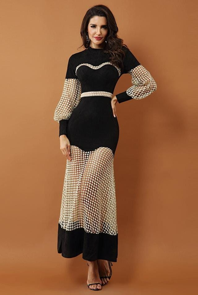 Hollow Out Lace Mesh Long Dress Black