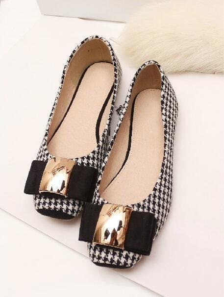 Bow-knot Plaid Cloth Comfortable Casual Shoes