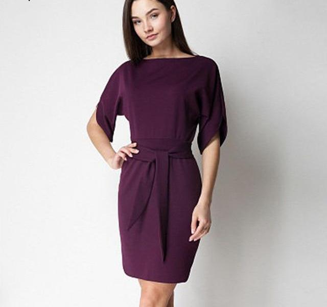 Batwing Sleeve O-neck Knitted Mini Dress