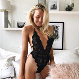 Deep V Halter Lace Transparent Bodysuit