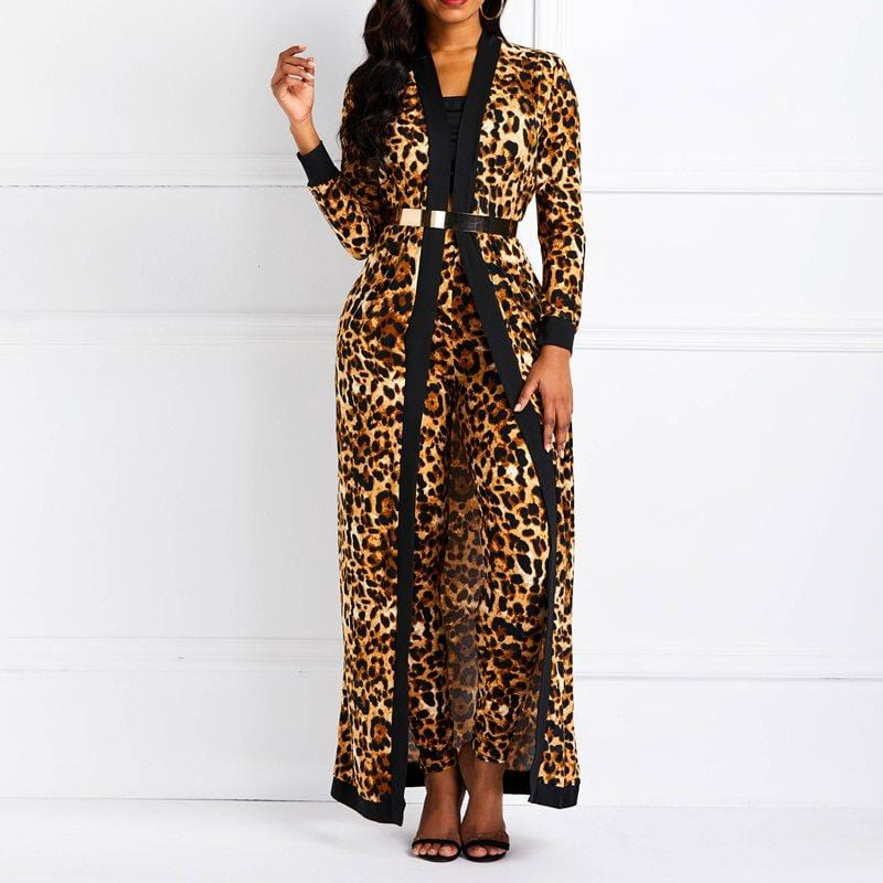 Leopard Print Casual Outfits Suit Sets Brown