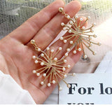 Simulated-Pearl Flower Golden Stud Earrings