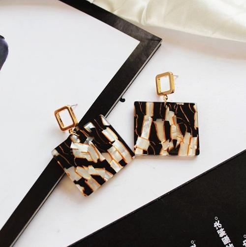 Fashion Acrylic Square Stud Earrings