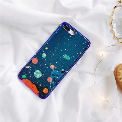 Soft Silicone Planet Blue iPhone Case