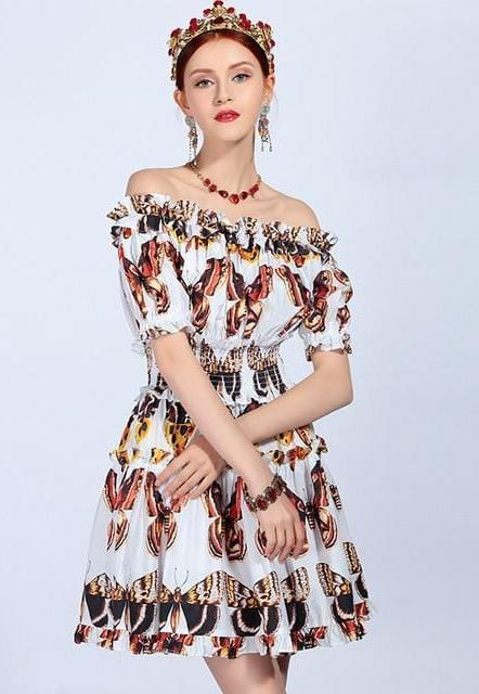 Sexy Off The Shoulder Butterfly Print Dress