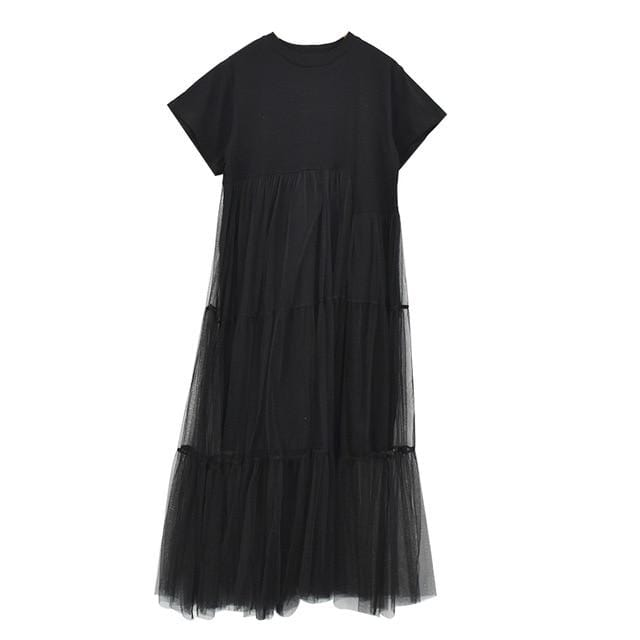 Black Net Yarn Short Sleeve Loose Dress