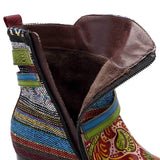 Chunky Heels Bohemian Leather Boots