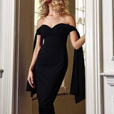 Black Slash Neck Elegant Off Shoulder Bodycon Dress