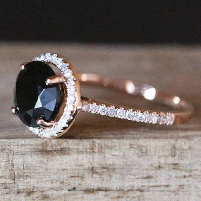 Rhinestone Black Stone Crystal Rings
