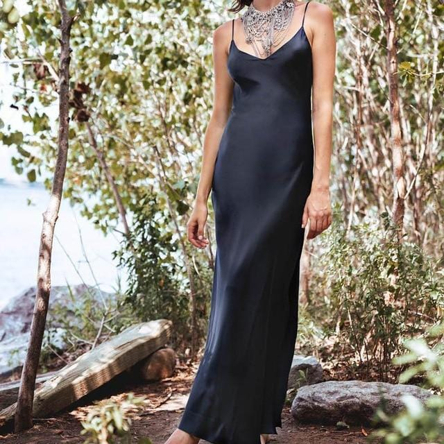 Spaghetti Strap Satin V-Neck Maxi Dress Black