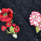 Flower Embroidery Vintage Black Dress
