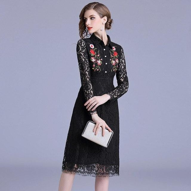 Floral Embroidery Black Lace Dress