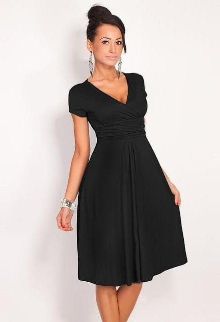 Vintage Casual V-Neck Slim Fold Dress Black