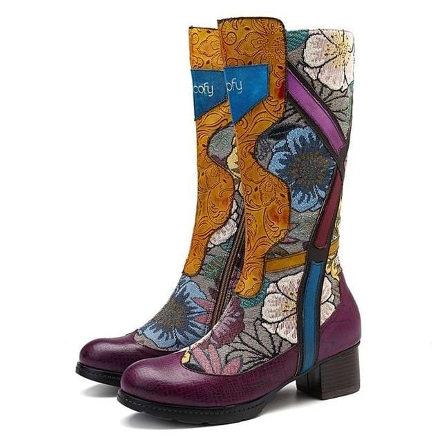 Retro Mid-Calf Flower Printed Winter Boots