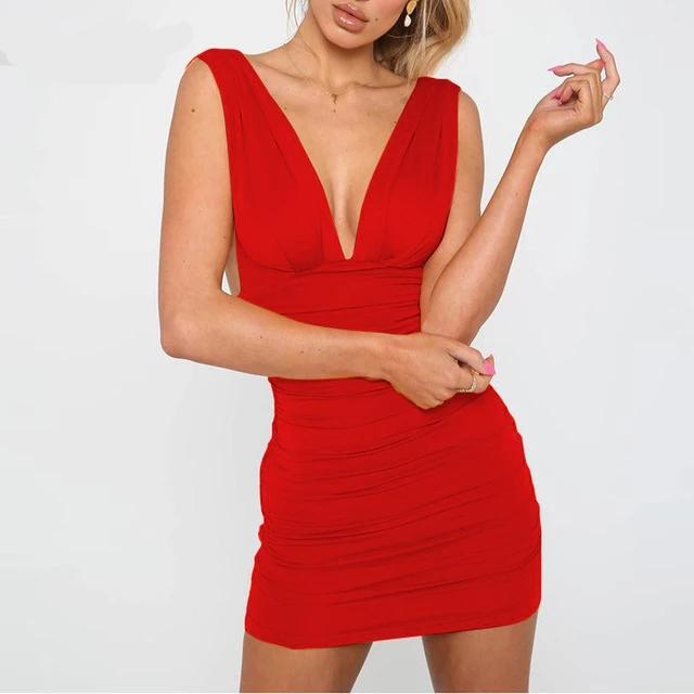 Forefair Off Shoulder Mini Bodycon Party Dress Red