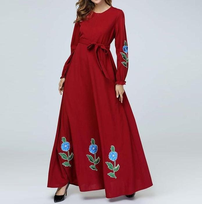 A-Line Long Ethnic Embroidery Maxi Dress