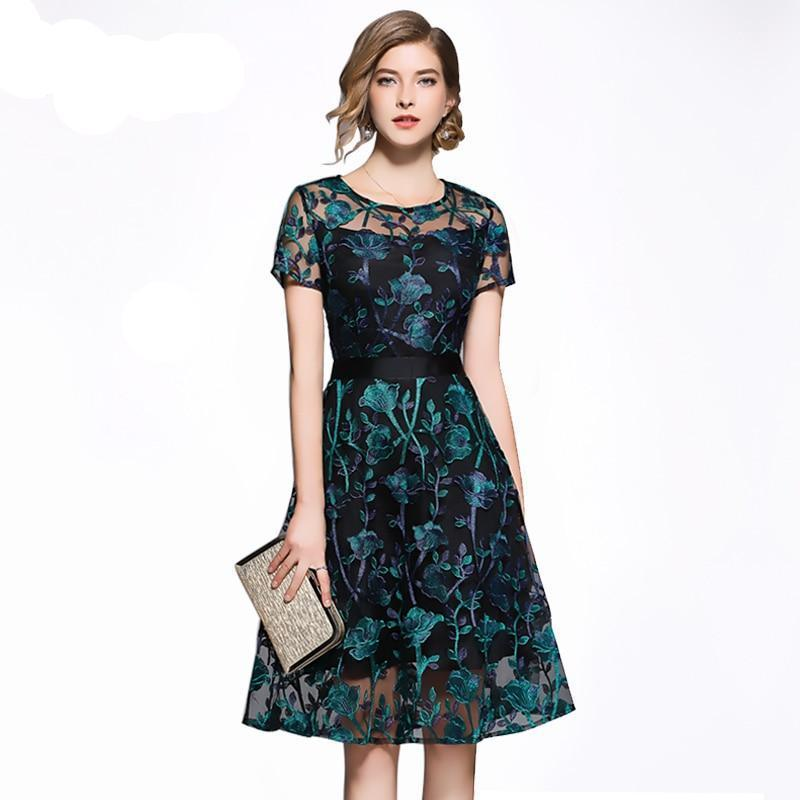 Vintage Style Embroidery Party Dress Green