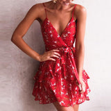 Peppy And Hot Short Summer Dress Red