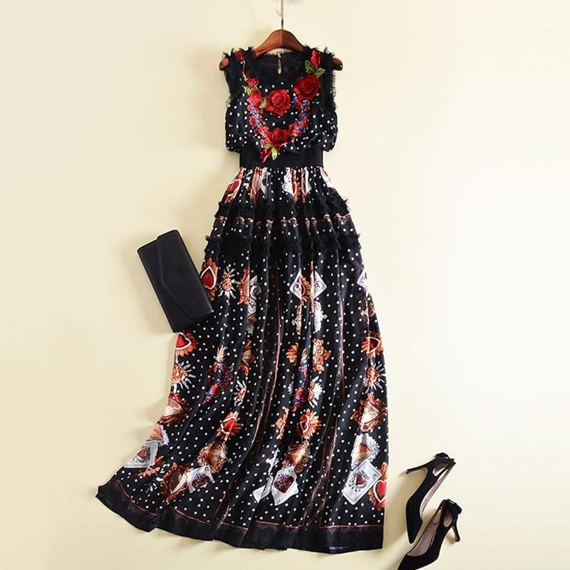 Flowers Embroidery Dot Printed Ruffles Long Dress