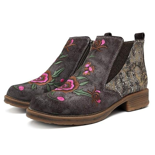 Embroidery Flower Bohemian Ankle Purple Blue Boots
