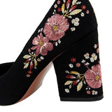 Flower Embroidery High Heel Pumps
