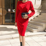 Eleagnt Solid Slim Long Sleeve O-Neck Dress Red