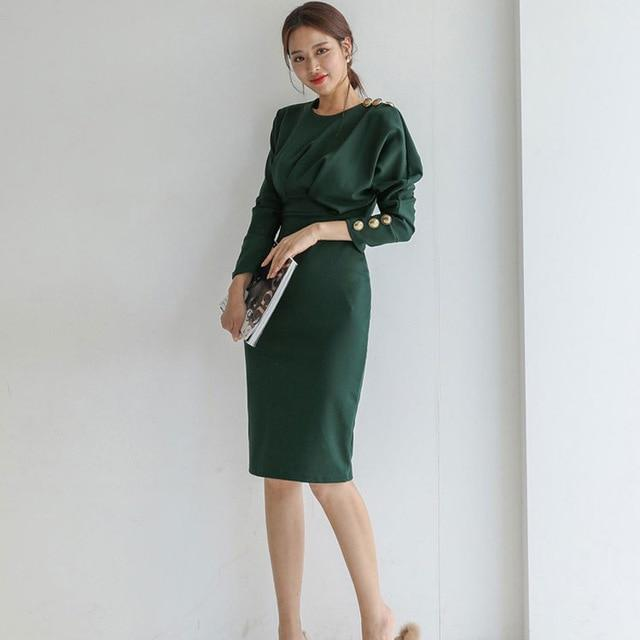 Eleagnt Solid Slim Long Sleeve O-neck Dress